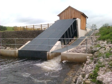 100kW hydro scheme on the River Kent to power James Cropper Paper Mill. Fish friendly Archimedes screw. Picture courtesy of Ellergreen Hydro.